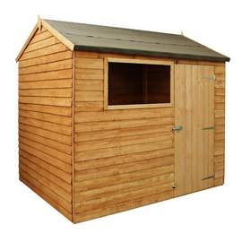 Mercia Wooden 8 x 6ft Overlap Reverse Apex Shed Best Price, Cheapest Prices
