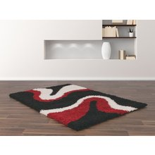 Sienna Ripple Rug - 120 x 170cm - Black and Red