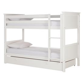 Argos Home Brooklyn White Bunk Bed, Drawer & 2 Mattresses