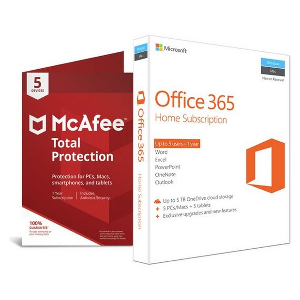 Buy Microsoft Office 365 Home and McAfee TP - 5 Devices | Limited stock  Technology | Argos