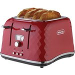 De'Longhi Brilliante 4 Slice Toaster - Red