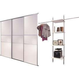 Sliding Wardrobe Door Kit W2692mm White Fineline + Storage