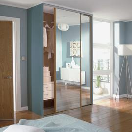 Sliding Doors & trackset W1195mm Oak Frame Mirror + Storage