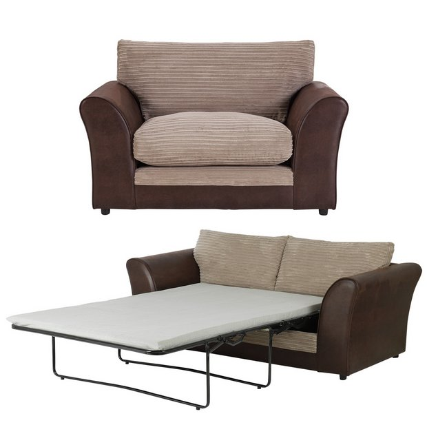 Buy home harley 2 seater sofa bed and cuddle chair for Sofa bed outlet uk
