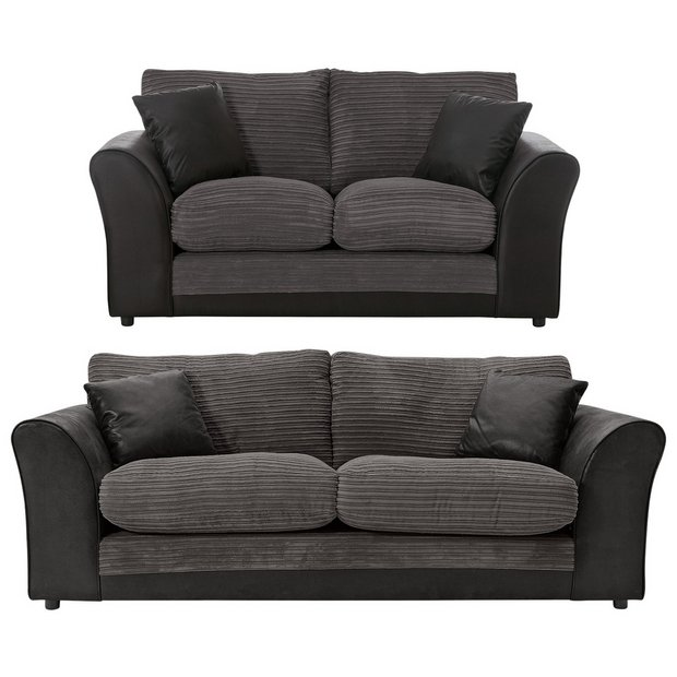 Buy HOME Harley 3 Seater and 2 Seater Fabric Sofa   Charcoal at Argos co uk    Your Online Shop for Sofa packages  Living room furniture  Home and  garden. Buy HOME Harley 3 Seater and 2 Seater Fabric Sofa   Charcoal at