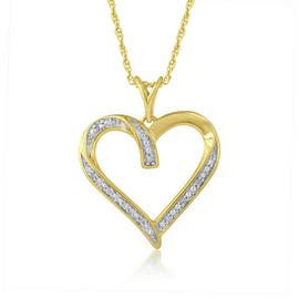 Revere 9ct Yellow Gold Plated Diamond Heart 18 Inch Pendant