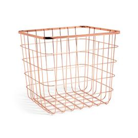 Habitat Flat Wire Squares Plus Storage Baskets -Rose Gold