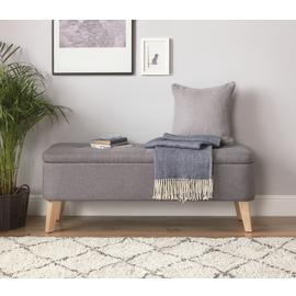 Argos Home Ashby Fabric Ottoman - Grey