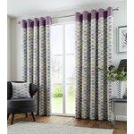 Fusion Copeland Eyelet Curtains - 168x229cm - Heather