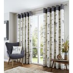 Fusion Idaho Eyelet Curtains - 229x229cm - Charcoal