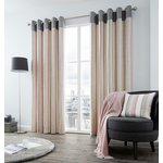 Fusion Rydell Stripe Eyelet Curtains - 168x229cm - Blush