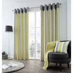 Fusion Rydell Stripe Eyelet Curtains - 229x229cm - Lime