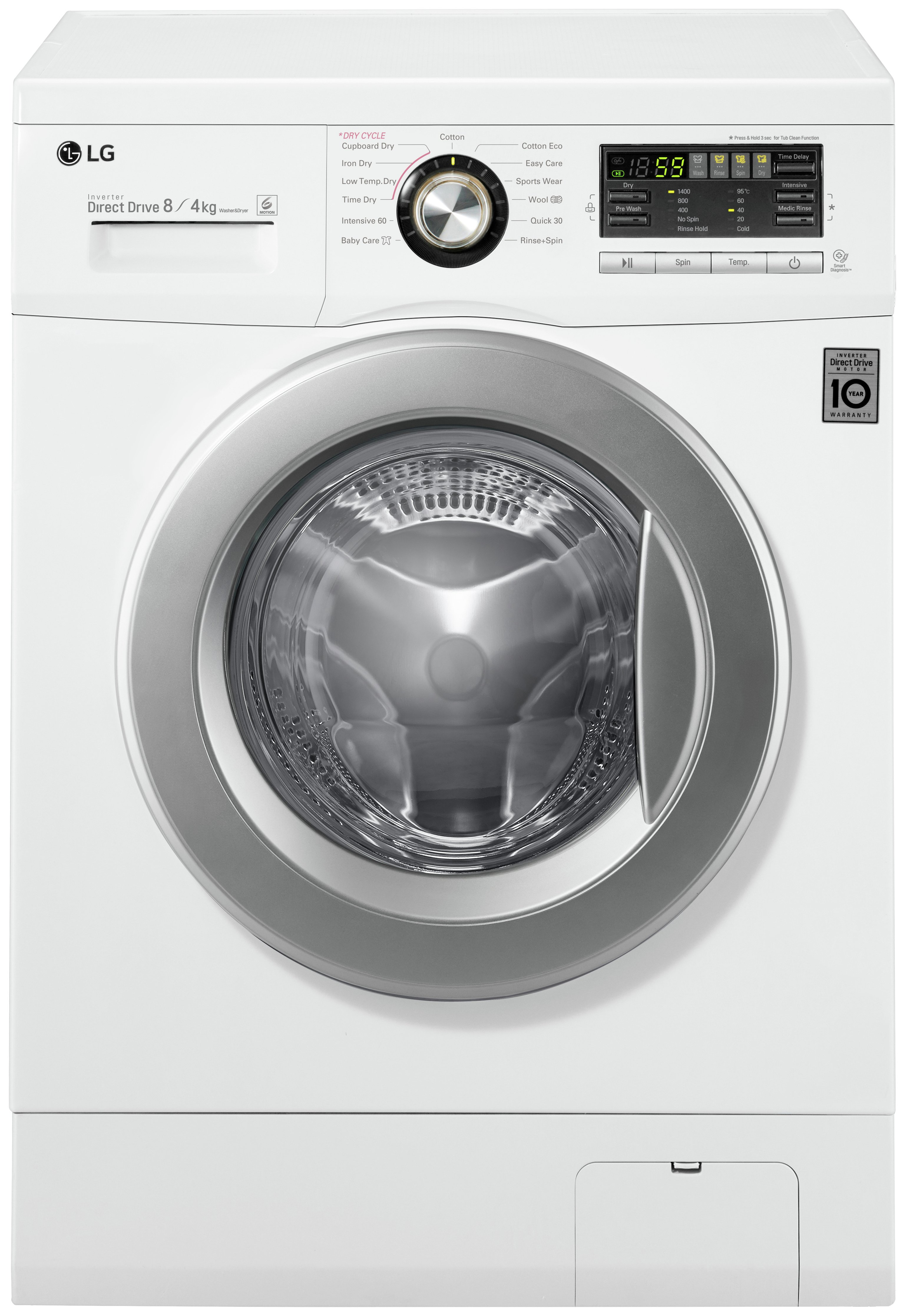 lg f1496ad1 8kg wash 4kg dry spin washer dryer white