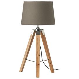 Wood Base Tripod Table Lamp - Grey