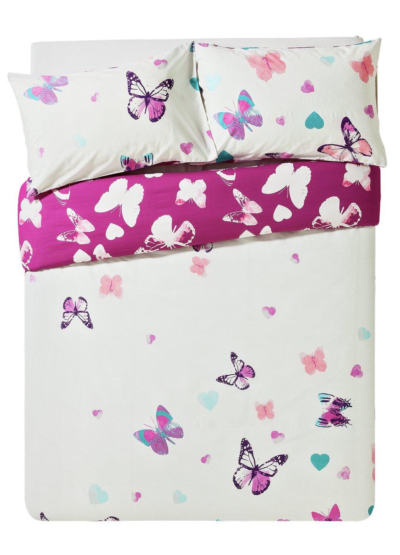 HOME Amelie Pink Butterfly Bedding Set   Kingsize