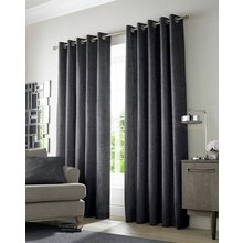 Academy Eyelet Curtains - 165x183cm - Charcoal