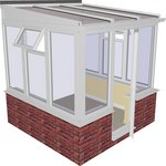 more details on Traditional Dwarf Wall Small Lean to Conservatory - White.