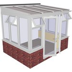 more details on Traditional Dwarf Wall Medium Lean to Conservatory - White.