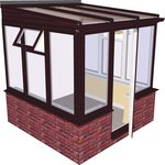 more details on Traditional Dwarf Wall Small Conservatory-Rosewood on White.