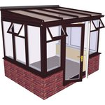 more details on Traditional Dwarf Wall Medium Conservatory-Rosewood on White