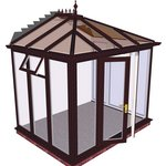 more details on Edwardian Full Height Small Conservatory-Rosewood on White.