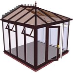 more details on Edwardian Full Height Medium Conservatory-Rosewood on White.