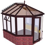 more details on Victorian Dwarf Wall Conservatory - Rosewood on White.