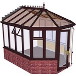 more details on Victorian Dwarf Wall Medium Conservatory-Rosewood on White.