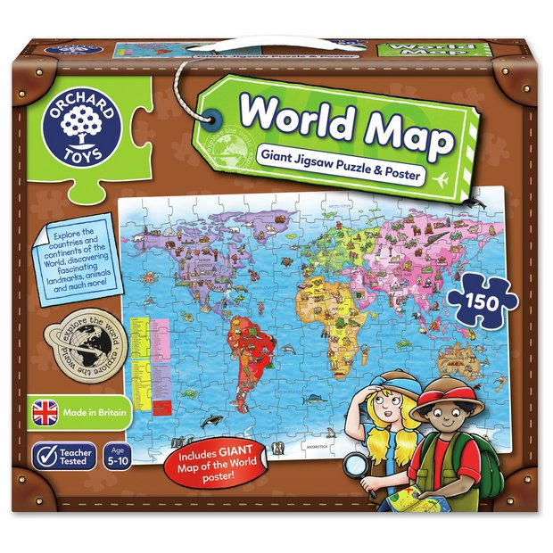 Buy orchard toys world map puzzle and poster puzzles and jigsaws buy orchard toys world map puzzle and poster puzzles and jigsaws argos gumiabroncs Choice Image