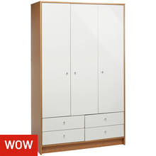 HOME Malibu 3 Door 4 Drw Wardrobe - White Gloss & Oak Effect