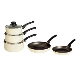 Argos Home Aluminium Non-Stick 5 Piece Pan Set - Cream