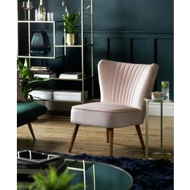 Argos Home Alana Velvet Shell Back Accent Chair - Dusty Pink