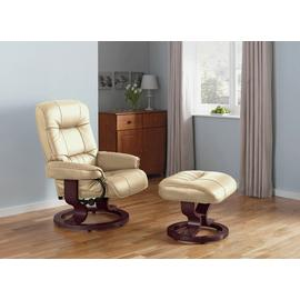 Argos Home Santos Recliner Chair and Footstool - Ivory