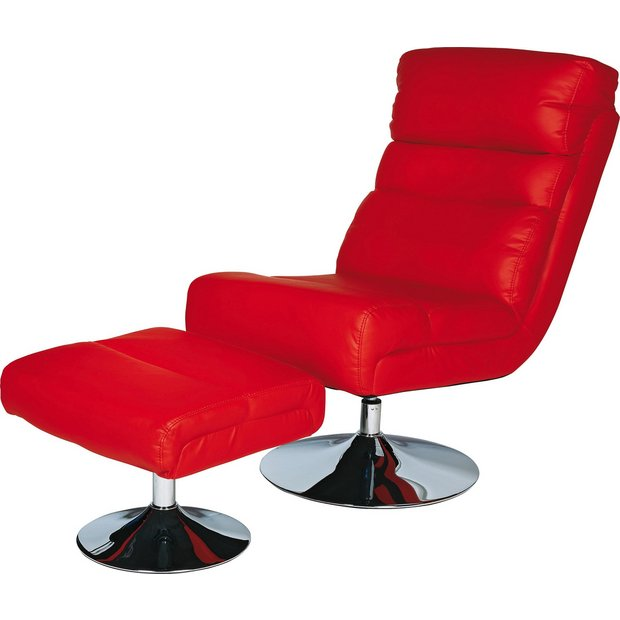 Buy home costa leather effect swivel chair and footstool for Red swivel chairs for living room