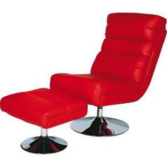 Argos Home Costa Leather Eff Swivel Chair & Footstool - Red