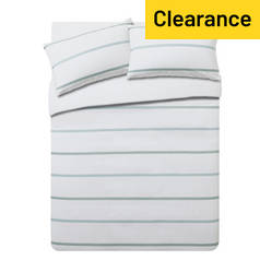 Argos Home Evan Green Stripe Bedding Set - Kingsize