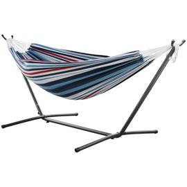 Vivere Double Cotton Hammock with Stand - Denim