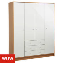 HOME Malibu 4 Door 3 Drw Wardrobe - White Gloss & Oak Effect