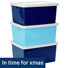 Argos Home Set of 3 Storage Boxes with Lids - Blue