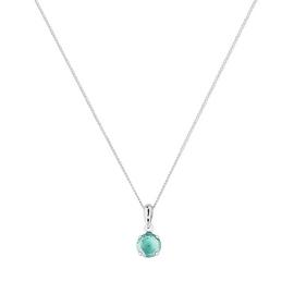 Revere White Gold Blue Topaz 5mm Pendant 16 Inch Necklace