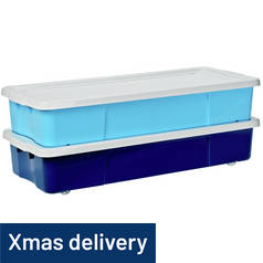 Argos Home Pair of Underbed Storage Boxes - Blue