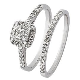 Revere 9ct White Gold 0.50ct tw Diamond Bridal Ring Set