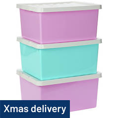 Argos Home Set of 3 Storage Boxes with Lids - Pink