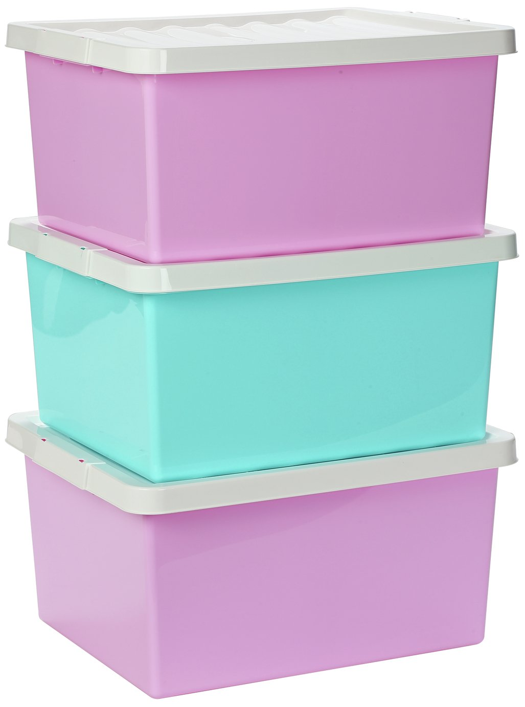 Argos Home Set of 3 Storage Boxes with Lids - Pink  sc 1 st  Argos : toy storage argos  - Aquiesqueretaro.Com