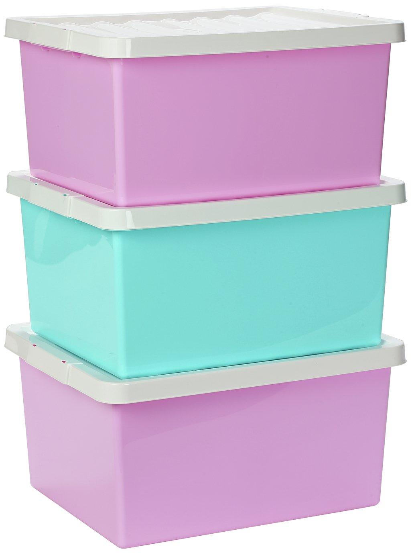 Argos Home Set of 3 Storage Boxes with Lids - Pink  sc 1 st  Argos & Plastic Kids toy boxes and storage | Argos