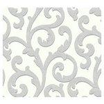 more details on Arthouse Glitterati Scroll Wallpaper - Platinum.