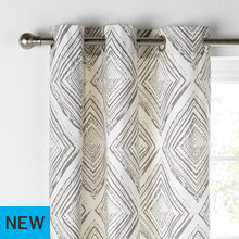 Collection Diamond Distressed Lined Curtains -117x137- Grey
