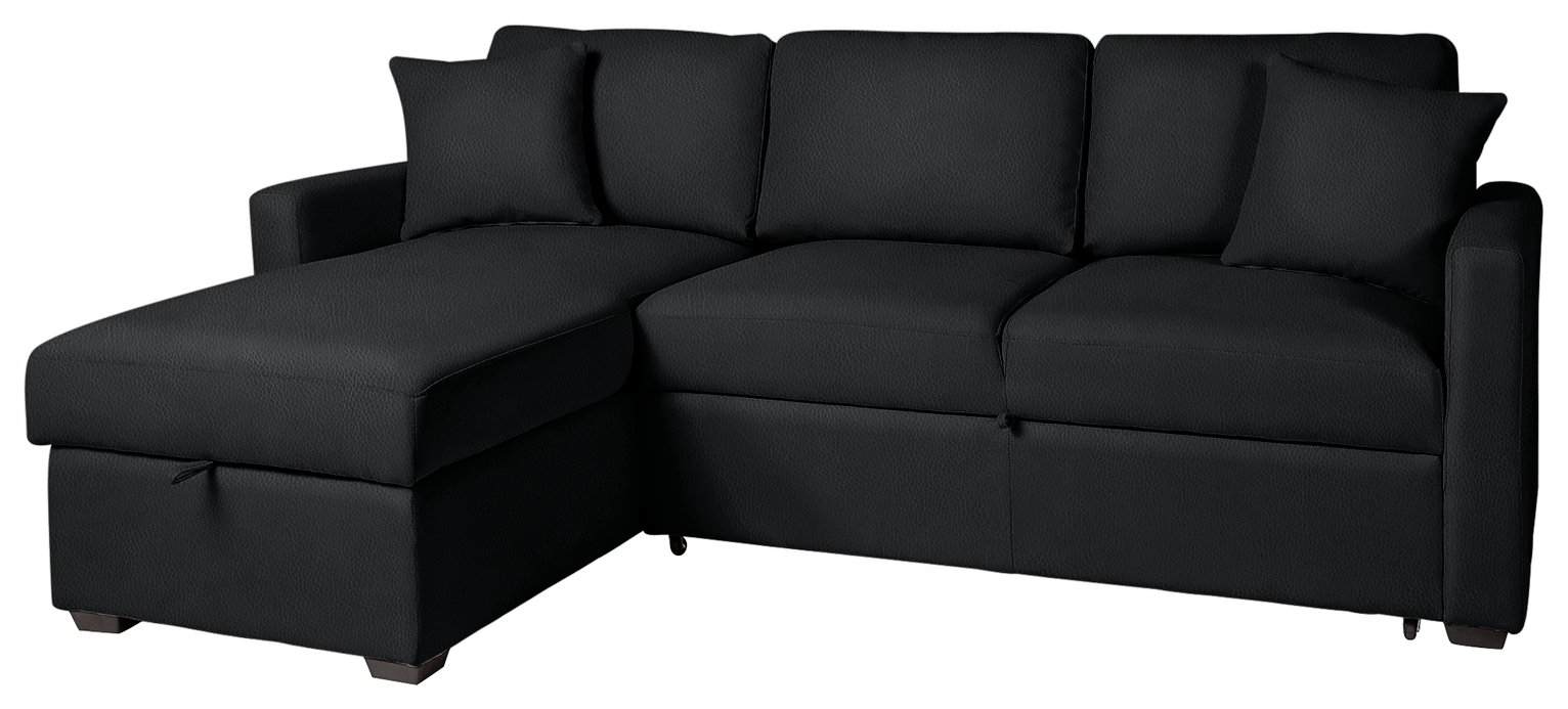 home reagan leather effect corner chaise sofa bed black