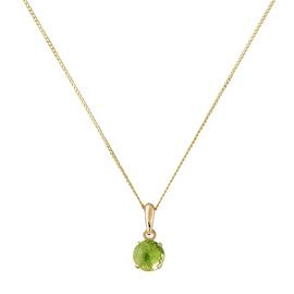 Revere 9ct Gold Peridot Pendant 16 Inch Necklace - August