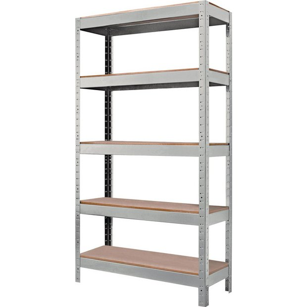 buy quick assembly shelving unit grey at. Black Bedroom Furniture Sets. Home Design Ideas